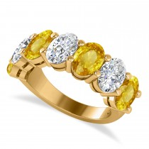 Oval Diamond & Yellow Sapphire Seven Stone Ring 14k Yellow Gold (7.00ct)