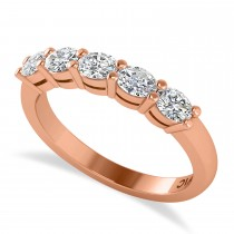 Oval Diamond Five Stone Wedding Band 14k Rose Gold (1.00ct)