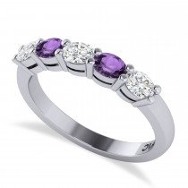 Oval Diamond & Amethyst Five Stone Ring 14k White Gold (1.00ct)