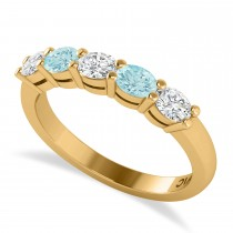 Oval Diamond & Aquamarine Five Stone Ring 14k Yellow Gold (1.00ct)