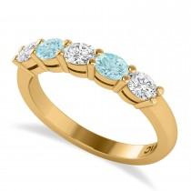 Oval Diamond & Aquamarine Five Stone Ring 14k Yellow Gold (1.00ct)