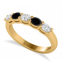 Oval Black & White Diamond Five Stone Ring 14k Yellow Gold (1.00ct)