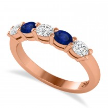 Oval Diamond & Blue Sapphire Five Stone Ring 14k Rose Gold (1.00ct)