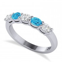 Oval Diamond & Blue Topaz Five Stone Ring 14k White Gold (1.00ct)