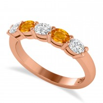 Oval Diamond & Citrine Five Stone Ring 14k Rose Gold (1.00ct)