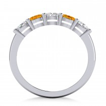 Oval Diamond & Citrine Five Stone Ring 14k White Gold (1.00ct)