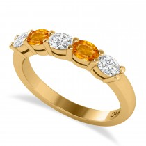 Oval Diamond & Citrine Five Stone Ring 14k Yellow Gold (1.00ct)