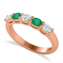 Oval Diamond & Emerald Five Stone Ring 14k Rose Gold (1.00ct)