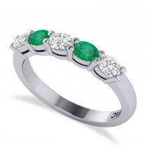 Oval Diamond & Emerald Five Stone Ring 14k White Gold (1.00ct)
