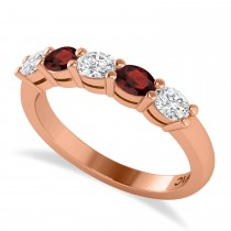 Oval Diamond & Garnet Five Stone Ring 14k Rose Gold (1.00ct)