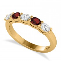 Oval Diamond & Garnet Five Stone Ring 14k Yellow Gold (1.00ct)