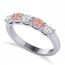 Oval Diamond & Morganite Five Stone Ring 14k White Gold (1.00ct)