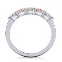 Oval Diamond & Morganite Five Stone Ring 14k White Gold (1.00ct)|escape