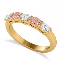 Oval Diamond & Morganite Five Stone Ring 14k Yellow Gold (1.00ct)
