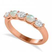 Oval Diamond & Opal Five Stone Ring 14k Rose Gold (1.00ct)