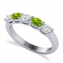 Oval Diamond & Peridot Five Stone Ring 14k White Gold (1.00ct)