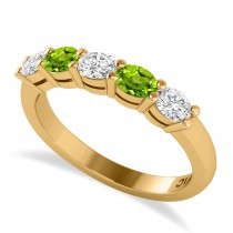 Oval Diamond & Peridot Five Stone Ring 14k Yellow Gold (1.00ct)