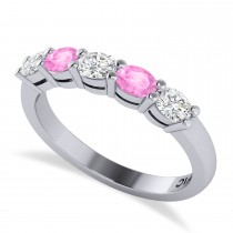 Oval Diamond & Pink Sapphire Five Stone Ring 14k White Gold (1.00ct)