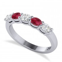 Oval Diamond & Ruby Five Stone Ring 14k White Gold (1.00ct)