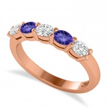 Oval Diamond & Tanzanite Five Stone Ring 14k Rose Gold (1.00ct)