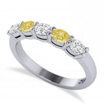 Oval Yellow & White Diamond Five Stone Ring 14k White Gold (1.00ct)