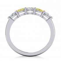 Oval Yellow & White Diamond Five Stone Ring 14k White Gold (1.00ct)|escape