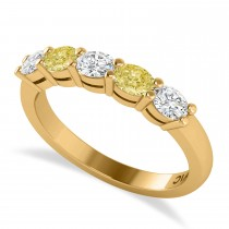 Oval Yellow & White Diamond Five Stone Ring 14k Yellow Gold (1.00ct)