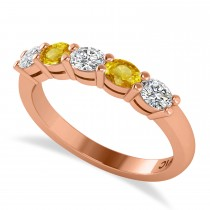 Oval Diamond & Yellow Sapphire Five Stone Ring 14k Rose Gold (1.00ct)