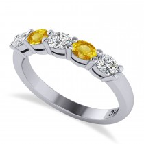 Oval Diamond & Yellow Sapphire Five Stone Ring 14k White Gold (1.00ct)
