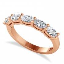 Oval Diamond Five Stone Wedding Band 14k Rose Gold (1.25ct)