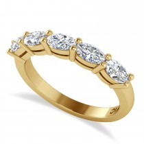 Oval Diamond Five Stone Wedding Band 14k Yellow Gold (1.25ct)
