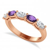 Oval Diamond & Amethyst Five Stone Ring 14k Rose Gold (1.25ct)