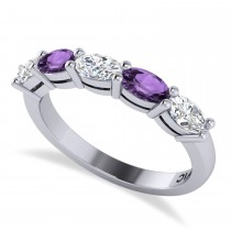 Oval Diamond & Amethyst Five Stone Ring 14k White Gold (1.25ct)