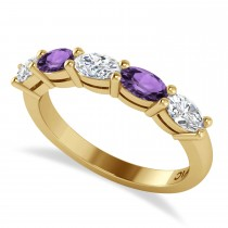 Oval Diamond & Amethyst Five Stone Ring 14k Yellow Gold (1.25ct)