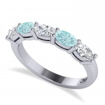 Oval Diamond & Aquamarine Five Stone Ring 14k White Gold (1.25ct)