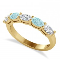 Oval Diamond & Aquamarine Five Stone Ring 14k Yellow Gold (1.25ct)