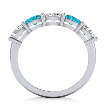 Oval Blue & White Diamond Five Stone Ring 14k White Gold (1.25ct)
