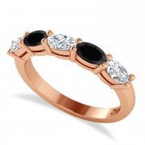 Oval Black & White Diamond Five Stone Ring 14k Rose Gold (1.25ct)