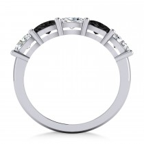 Oval Black & White Diamond Five Stone Ring 14k White Gold (1.25ct)