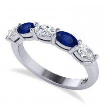 Oval Diamond & Blue Sapphire Five Stone Ring 14k White Gold (1.25ct)