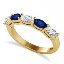 Oval Diamond & Blue Sapphire Five Stone Ring 14k Yellow Gold (1.25ct)