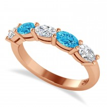 Oval Diamond & Blue Topaz Five Stone Ring 14k Rose Gold (1.25ct)