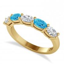 Oval Diamond & Blue Topaz Five Stone Ring 14k Yellow Gold (1.25ct)