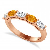 Oval Diamond & Citrine Five Stone Ring 14k Rose Gold (1.25ct)