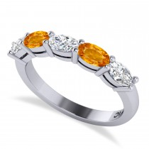 Oval Diamond & Citrine Five Stone Ring 14k White Gold (1.25ct)