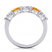 Oval Diamond & Citrine Five Stone Ring 14k White Gold (1.25ct)