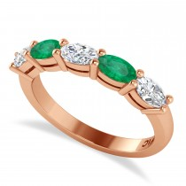 Oval Diamond & Emerald Five Stone Ring 14k Rose Gold (1.25ct)