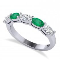 Oval Diamond & Emerald Five Stone Ring 14k White Gold (1.25ct)