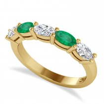 Oval Diamond & Emerald Five Stone Ring 14k Yellow Gold (1.25ct)