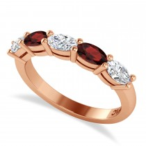 Oval Diamond & Garnet Five Stone Ring 14k Rose Gold (1.25ct)